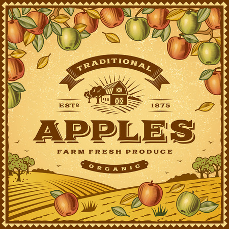 barn: Vintage apples label Illustration