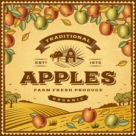 Vintage apples label Illustration