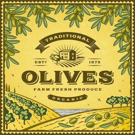 olive farm: Vintage olives label