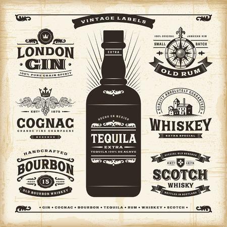 whiskey: Урожай алкоголь этикетки коллекцию Иллюстрация