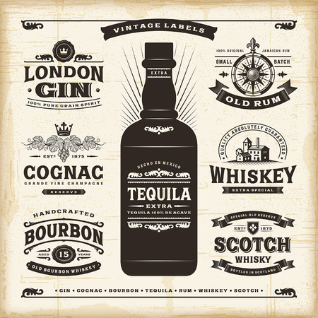 scotch whisky: Vintage alcohol labels collection