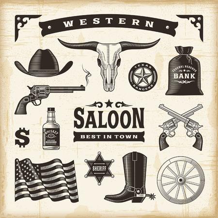 Uitstekende Westelijke Set Stock Illustratie