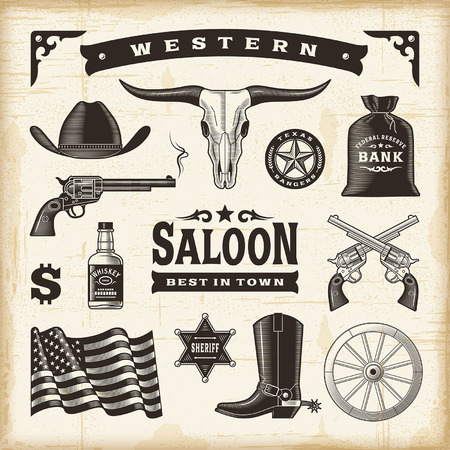 old west: Vintage Western Set