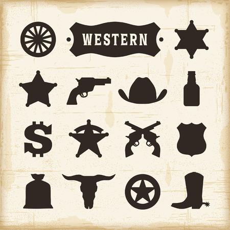 Uitstekende Westelijke Icons Set Stock Illustratie