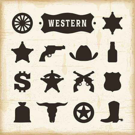 vector wheel: Vintage Western Icons Set