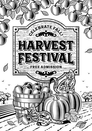 rural wooden bucket: Harvest Festival Poster black and white