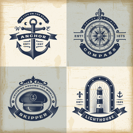 brujula: Conjunto de etiquetas náuticas de la vendimia