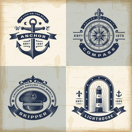 bussola: Set di etichette d'epoca nautiche Vettoriali