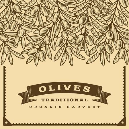 fruit tree: Retro olive harvest card brown Illustration