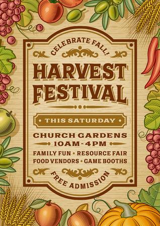 ヴィンテージの収穫祭ポスター  イラスト・ベクター素材