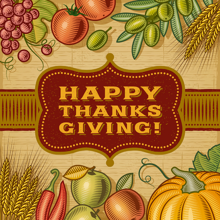 label frame: Vintage Happy Thanksgiving Card