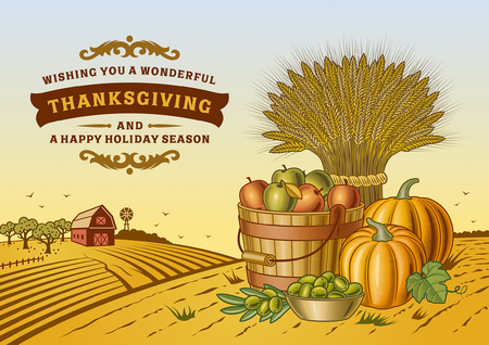 Vintage Thanksgiving Landschap Stock Illustratie