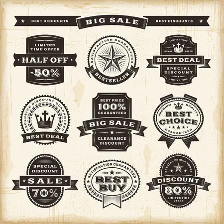 badge vector: Vintage sale labels set