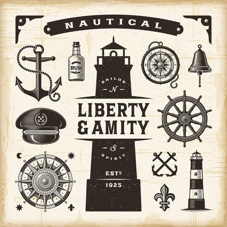 compas de dibujo: conjunto náutica de la vendimia Vectores