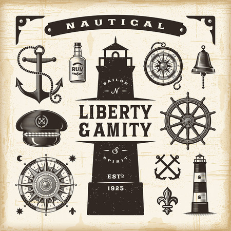 vintage banner: Vintage nautical set Illustration