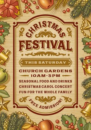 Vintage Christmas-Festival-Plakat