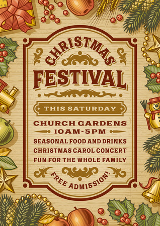 retro vintage: Vintage Christmas Festival Poster