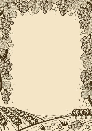 Retro grapes vertical brown frame Stock Illustratie