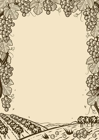 bunch: Retro grapes vertical brown frame Illustration