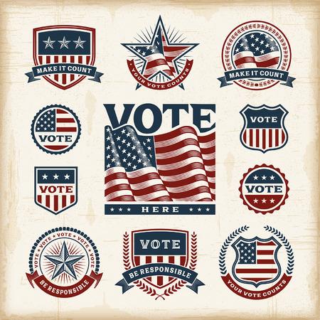 Étiquettes vintages électorales USA et badges fixés