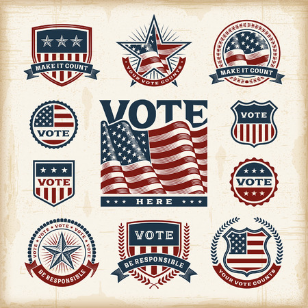 Vintage USA election labels and badges set Иллюстрация