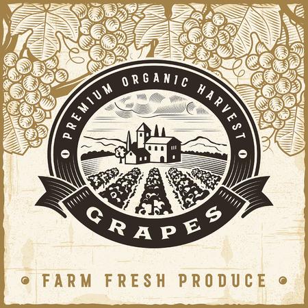 wineries: Vintage grapes harvest label Illustration