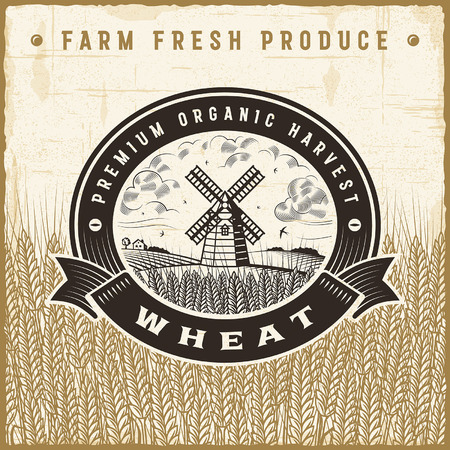 wheat harvest: Vintage wheat harvest label