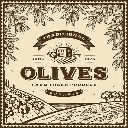 countryside: Vintage brown olives label Illustration
