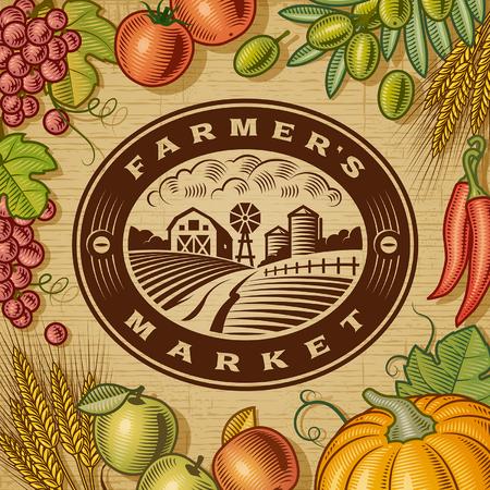 Vintage Farmers Market Label Illustration