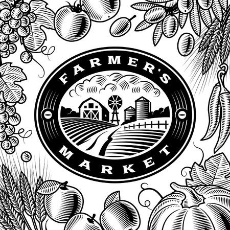 Etichetta Vintage Farmers Market Bianco e nero