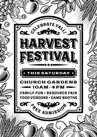 Vintage Harvest Festival Poster Black And White