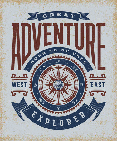 poster design: Vintage Great Adventure Typography
