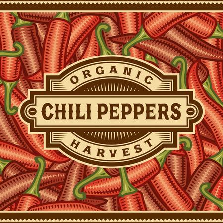 chili pepper: Retro Chili Pepper Harvest Label
