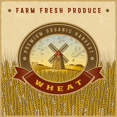 wheat harvest: Vintage colorful wheat harvest label Illustration