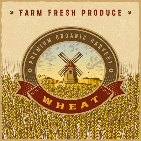 Vintage kleurrijke tarwe oogst label Stock Illustratie