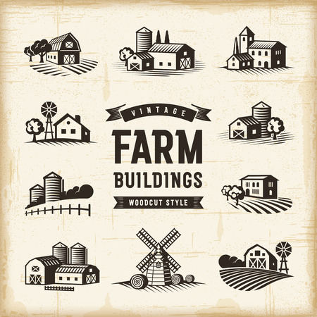 hay bales: Vintage Farm Buildings Set Illustration