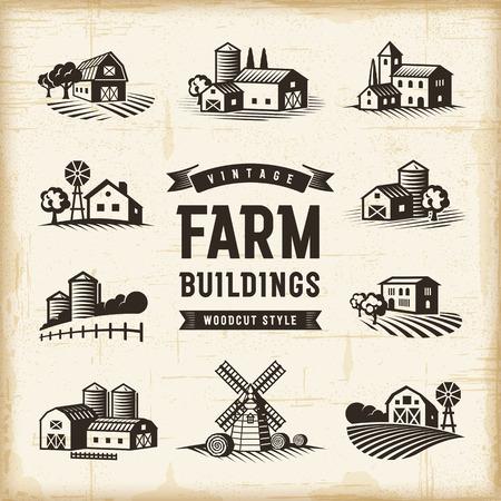 Vintage Farm Buildings Set Illustration