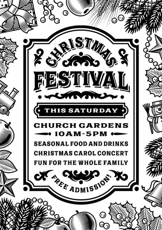 winter wheat: Vintage Christmas Festival Poster Black And White