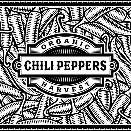 cayenne: Retro Chili Pepper Harvest Label Black And White