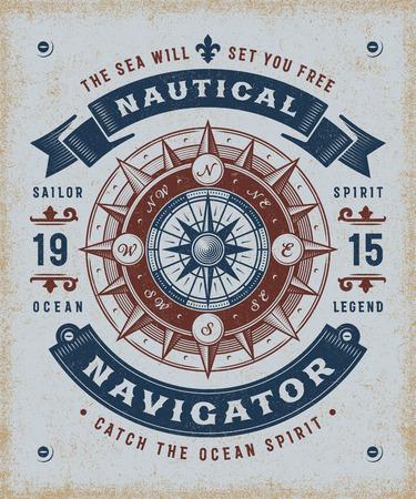 Vintage Nautical Navigator Typography