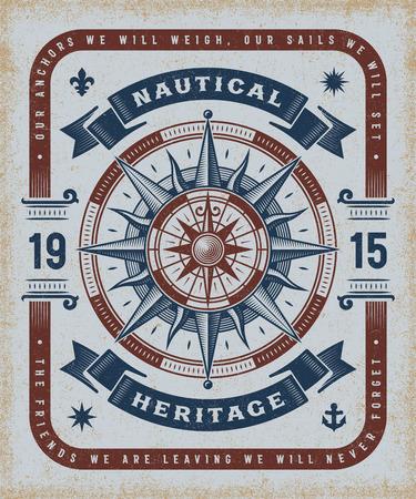 Vintage Nautical Heritage Typography Illustration