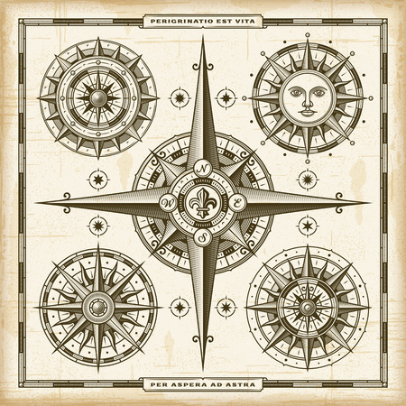 windrose: Vintage Compass Roses Set