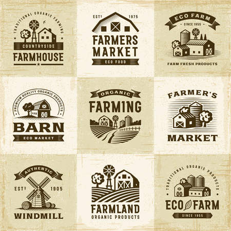 Vintage Organic Farming Labels Set Фото со стока - 76998807