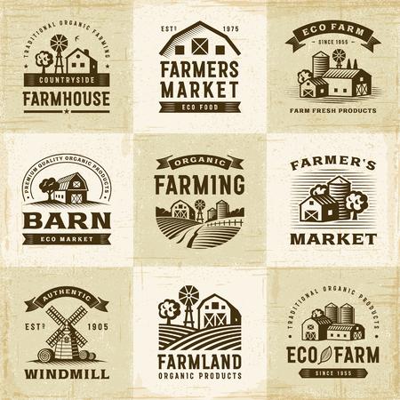 Zestaw etykiet Rolnictwa Ekologicznego Vintage Ilustracje wektorowe