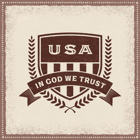 Vintage USA In God We Trust Label