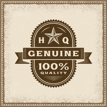 Vintage Genuine 100% Quality Label