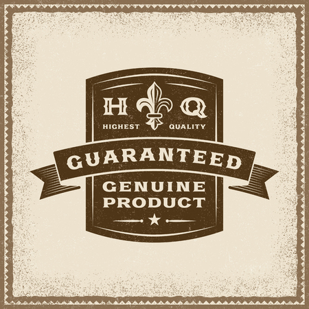 Vintage Guaranteed Genuine Product Label Illustration