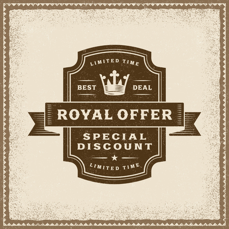 Vintage Royal Offer Label Illustration
