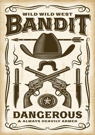 Vintage Wild West Bandit Poster Illustration