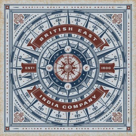 Vintage britânico East India Company tipografia náutica Foto de archivo - 80944281